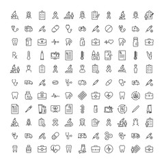 Simple collection of healthcare related line icons.