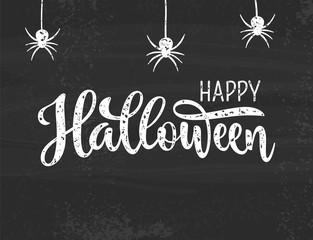 Happy Halloween greeting. Hand drawn lettering typography on grey textured background. EPS 10