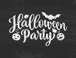 Halloween Party poster. Hand drawn lettering   on grey textured  background. EPS10