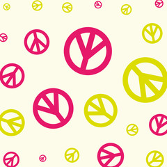 peace and love hippie vintage pattern