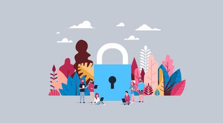 data storage concept over padlock background business people working together hand hold diversity gadgets flat vector illustration