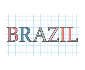 Brazil word on checkered paper texture- vector illustration