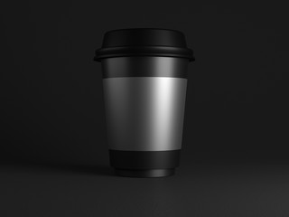 Blank black disposable paper cup with plastic lid mock up on black background, 3d rendering. Empty polystyrene coffee drinking mug mockup front view. Clear plain tea take away package