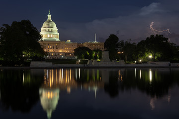 United States Capitol Building at Night with Lightning