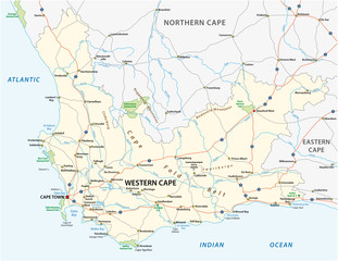 south africa western cape province road and national park vector map