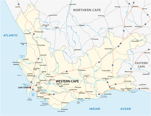 south africa western cape province road vector map.