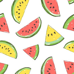 Watermelon seamless pattern. Hand drawn watermelon slice. Vector illustration. Vintage illustration.