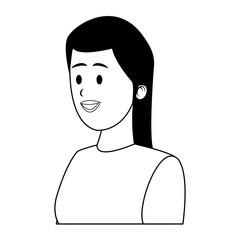 Young woman profile cartoon