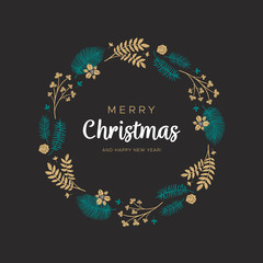Christmas wreath with golden leaves and pine branches on the black background. Unique design for your greeting cards, banners, flyers. Vector illustration in modern style.