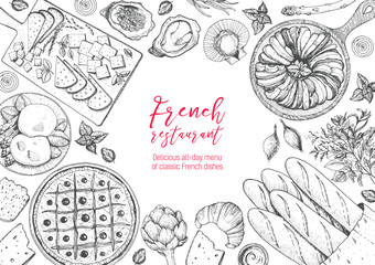 French cuisine top view frame. A set of classic French dishes with bakery, poached eggs, pissaladier, ratatouille, oysters, cheese. Food menu design template. Hand drawn sketch vector illustration.