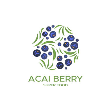 Color logo for products of berry acai