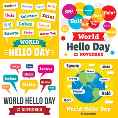 Hello day banner set. Flat illustration of hello day vector banner set for web design