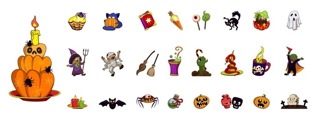 Halloween icon set. Cartoon set of halloween vector icons for web design