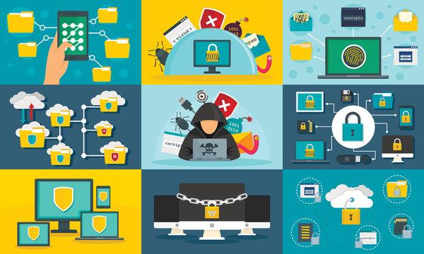 Computer security banner set. Flat illustration of computer security vector banner set for web design