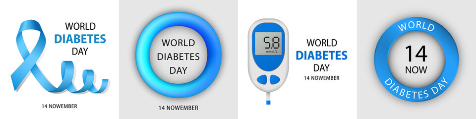 Diabetes day banner set. Realistic illustration of diabetes day vector banner set for web design