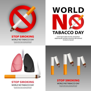 Public no smoking banner set. Realistic illustration of public no smoking vector banner set for web design