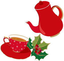 Holidays Tea party invitation, with red cup and pot