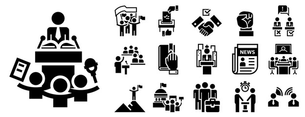 Obraz Political meeting icon set. Simple set of political meeting vector icons for web design on white background - fototapety do salonu