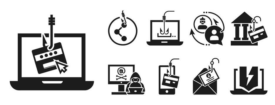 Phishing icon set. Simple set of phishing vector icons for web design on white background