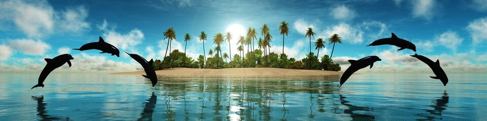 Dolphins play on the background of a tropical island, panorama of sea sunset,