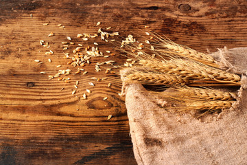 Ears of wheat, grain and sackcloth on a wooden background