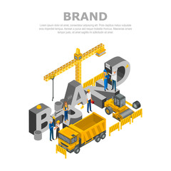 Construction brand concept background. Isometric illustration of construction brand vector concept background for web design
