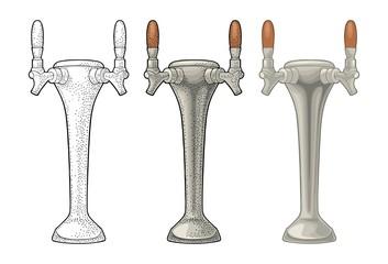 Beer tap. Vintage color vector engraving illustration