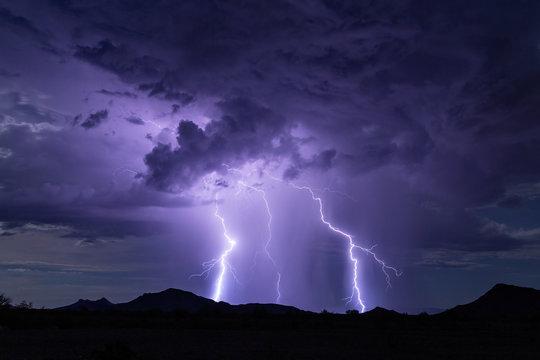 Lightning bolt strike storm background