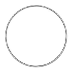 Gray white rope woven circle vector border, square vector frame, isolated on white background