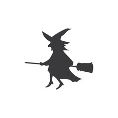 Flying broom vector icon