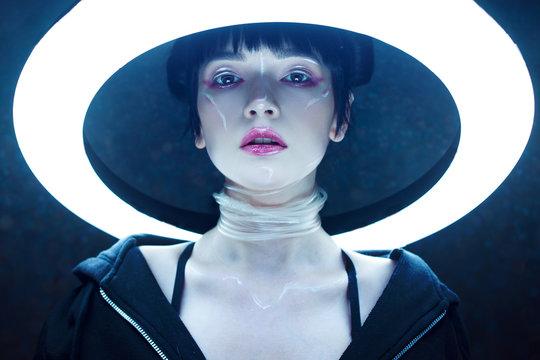 Cyber girl. Beautiful young woman, futuristic style.