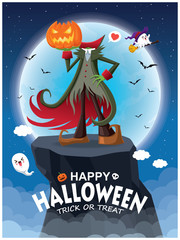 Vintage Halloween poster design with vector Jack O Lantern & ghost, witch character.