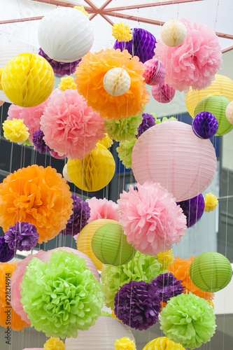 Bright decorations of paper colored POM-poms  POM-poms made