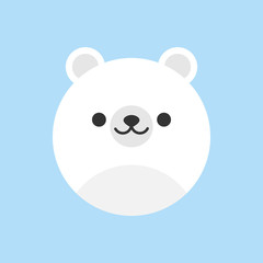Cute polar bear round vector graphic icon. White polar bear animal head, face illustration. Isolated on blue background.