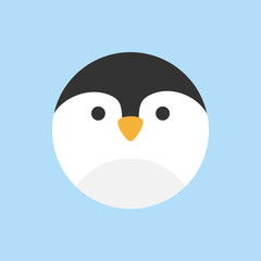 Cute penguin round vector graphic icon. Penguin bird animal head, face illustration. Isolated on blue background.