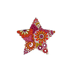 Bright star doodle illustration with flowers, swirls and abstract shapes