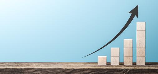 Obraz Profit Chart Made Of Wooden Blocks / Business Success Concept - fototapety do salonu