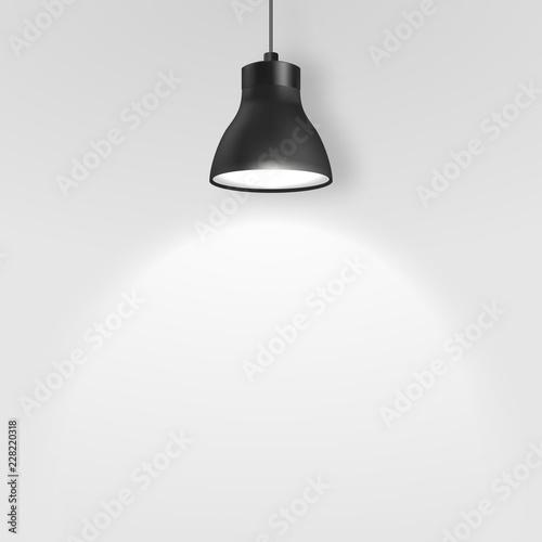 Vector Realistic 3d Black Spotlight, Hang Ceiling Lamp or