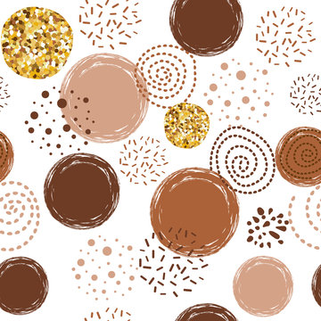 Coffee pattern abstract seamless vector brown pattern with hand drawn round elements