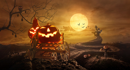 Halloween pumpkins on farm wagon going through Stretched road grave to Castle spooky in night of full moon and bats flying Fotoväggar