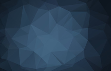 Dark blue abstract polygonal mosaic background, empty backdrop with place for content
