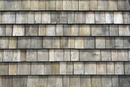 Old grey weathered wood shingle roof