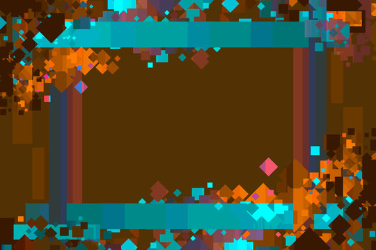 Graphic Design Background. Colorful Confetti Frame with Copy Space. Brown, Cyan, and Orange.