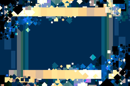 Graphic Design Background. Colorful Confetti Frame with Copy Space. Blue, Yellow, and Gold.
