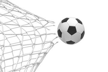 3d rendering of a football ball breaking a net with a force of its hit and flying away.