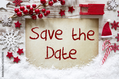 Christmas Save The Date Free.Bright Christmas Decoration Snow English Text Save The