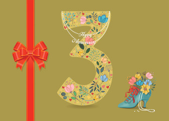 Happy Anniversary. Floral Number 3 with collar