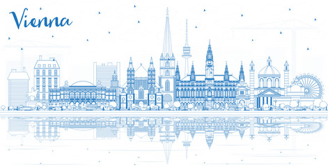Outline Vienna Austria City Skyline with Blue Buildings and Reflections.