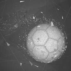 soccer ball in a modern abstract style. breaks up and flies crashing the background.