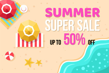 Summer super sale banner with summer elements in top view on Beach background. Vector illustration template and banners, wallpaper, flyers, invitation, posters, brochure, voucher discount.